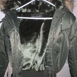 Green steve madden puffer coat